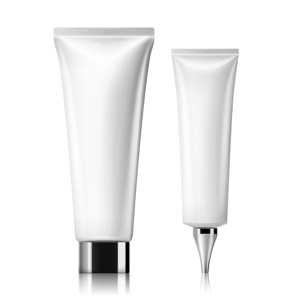 Zestaw białych tub kosmetycznych, makieta pustego pojemnika na białym tle