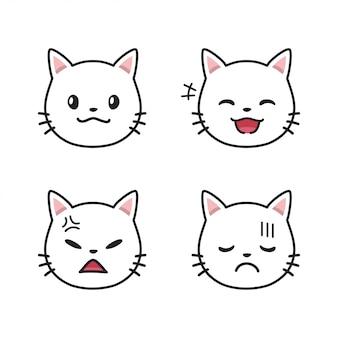 Zestaw białych twarzy kota pokazujące różne emocje