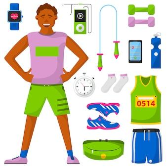 Zestaw biegaczy i sprzętu do biegania.