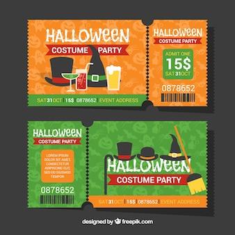 Zestaw biletów z halloween party akcesoria w płaskim stylu