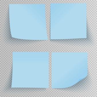 Zestaw biurowy niebieskie naklejki samoprzylepne z cieniem na przezroczystym tle.