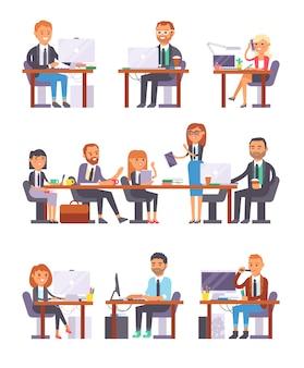 Zestaw biurowy osób w pracy.