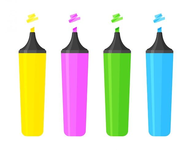 Zestaw biurowych kolorowych zakreślaczy. klasyczne markery szkolne z zaznaczonymi kreskami. artysta ołówki na białym tle. ilustracja wektorowa w modnym stylu płaski.