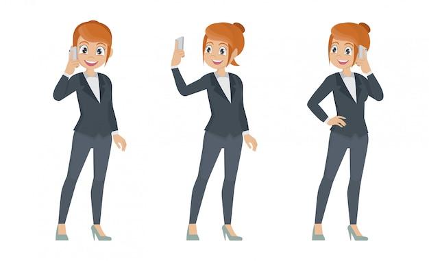 Zestaw biznes kobieta rozmawia przez telefon komórkowy.