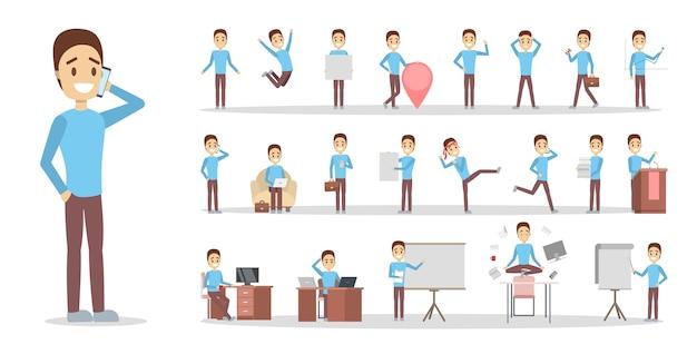 Zestaw biznesmen lub charakter pracownika biurowego w niebieskim swetrze z różnymi pozami, emocjami twarzy i gestami. pracujący mężczyzna w niebieskim garniturze. ilustracja na białym tle płaski wektor