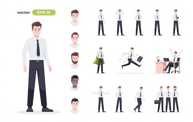 Zestaw biznesmen na białym tle. człowiek w miejscu pracy. pracownik biurowy w garniturze. ludzie z kreskówek w różnych pozach i działaniach. cute męskiej postaci do animacji. prosta konstrukcja. ilustracja urządzony.