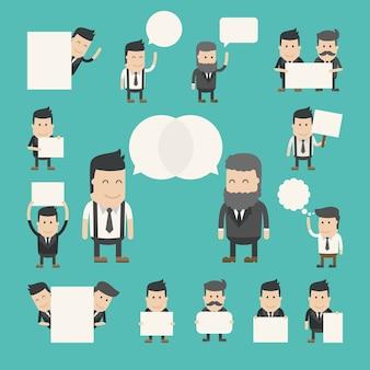 Zestaw biznesmen w rozmowie, dyskusja, debata