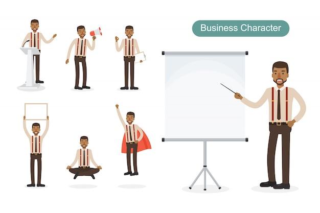 Zestaw biznesmen w różnych pozycjach.