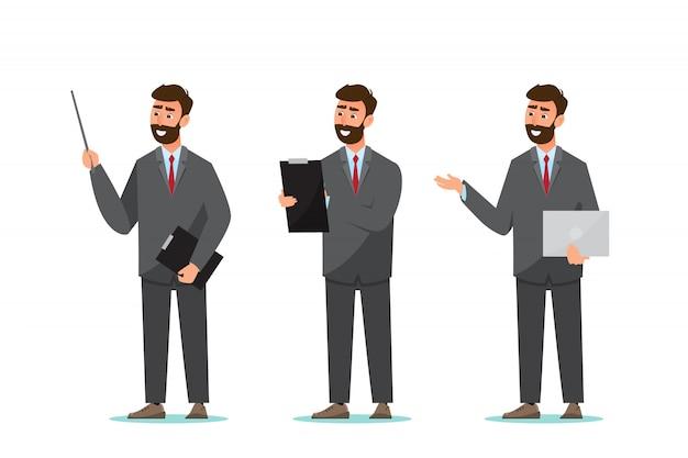 Zestaw biznesmena. charakter i pracownik biurowy w różnych pozach