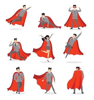 Zestaw biznesmenów i kobiet biznesu superbohaterowie w czerwonym płaszczu