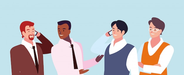 Zestaw biznesmenów o różnych poglądach, pozach i gestach