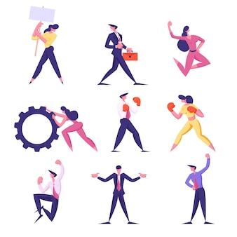 Zestaw biznesmenów postaci męskich i żeńskich walczących z rękawicami bokserskimi