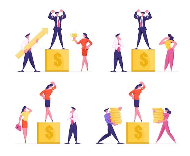 Zestaw biznesmenów stojących na złotym cokole z zegarem znak dolara na charakter biznesowy
