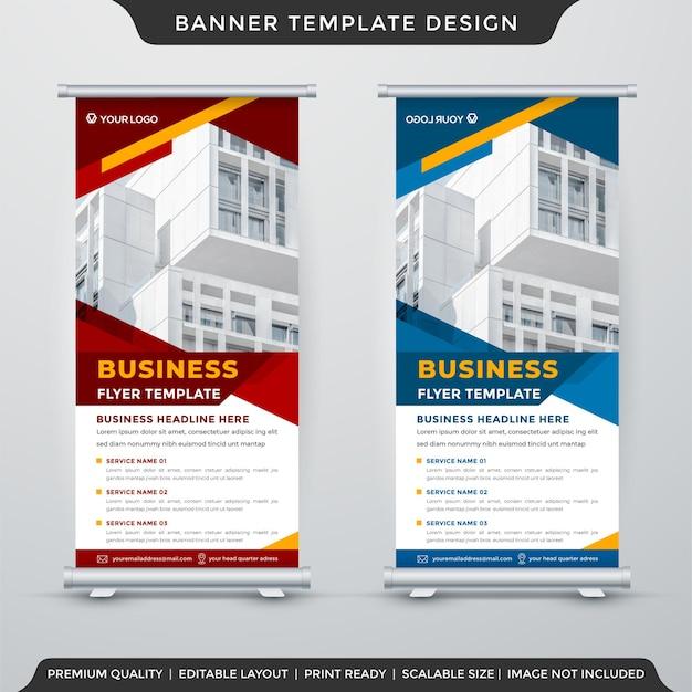 Zestaw biznesowy roll up banner projektu szablonu z abstrakcyjnym wykorzystaniem tła do wyświetlania biznesowego i prezentacji