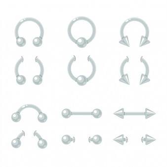 Zestaw biżuterii do piercingu. krzywa, sztanga, kolec, pierścień zamykający piłkę. błyszczące metalowe kolczyki na białym tle