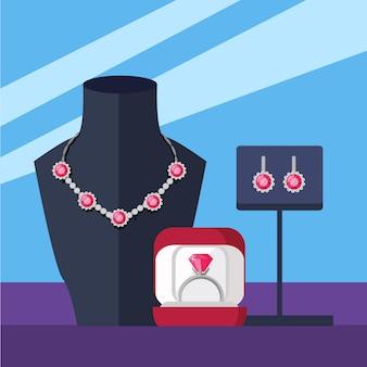 Zestaw biżuterii naszyjnik, pierścionek i kolczyki na białym tle
