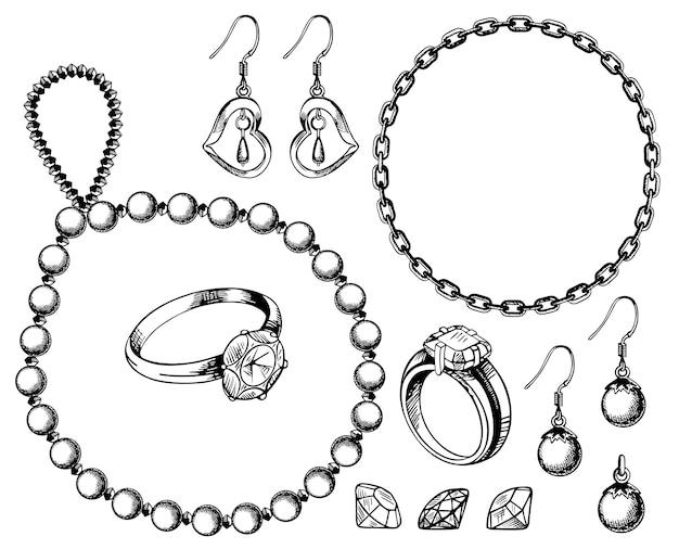 Zestaw biżuterii ręcznie rysowane ilustracji