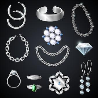 Zestaw biżuterii srebrnej