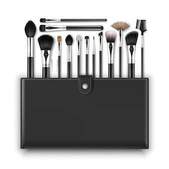 Zestaw black clean professional makeup concealer powder blush pędzle do brwi z czarnymi uchwytami i skórzanym etui na białym tle