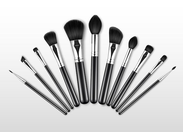 Zestaw black clean professional makeup concealer powder blush pędzle do brwi z czarnymi uchwytami na białym tle