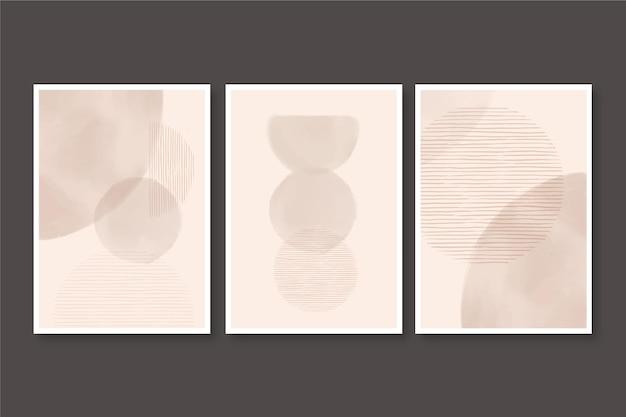 Zestaw bladej akwareli abstrakcyjnych okładek