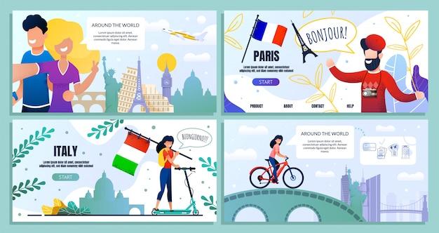 Zestaw blogów podróżniczych, strona internetowa pakietu docelowego, baner