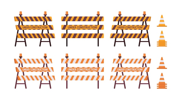 Zestaw blokady drogi ze światłem i stożkiem