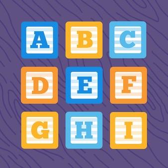 Zestaw bloków dziecko alfabet płaski wektor