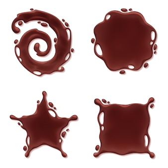 Zestaw blotów czekoladowych - spiralne okrągłe i abstrakcyjne krzywe.