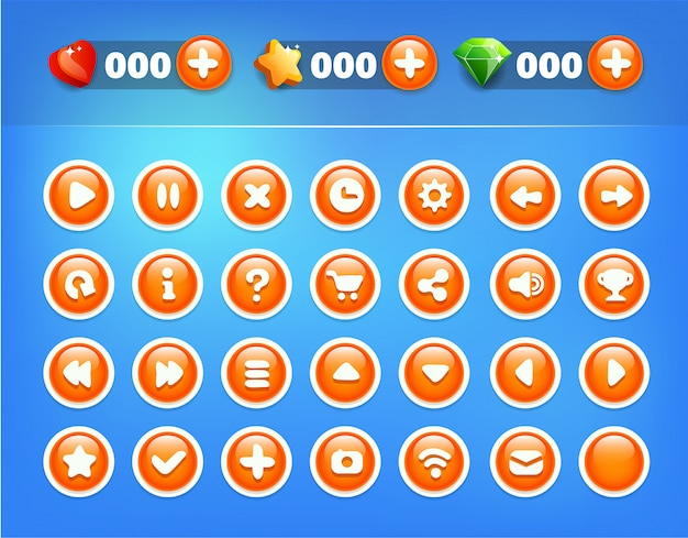 Zestaw blue orange buttons game ui