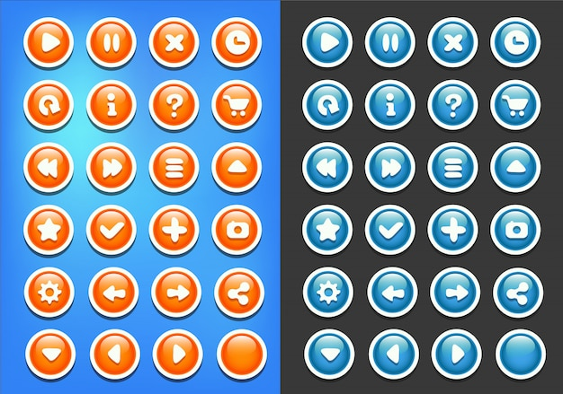 Zestaw blue orange buttons game ui