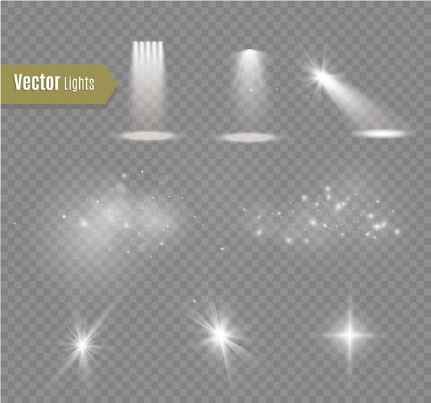 Zestaw błyskawic magia i jasne efekty świetlne. ilustracja efektu energetycznego. jasny rozbłysk światła i iskry
