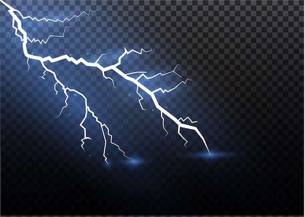 Zestaw błyskawic magia i jasne efekty świetlne. ilustracja. wyładuj prąd elektryczny. prąd ładowania. zjawiska naturalne. ilustracja efektu energetycznego. jasny rozbłysk światła i iskry