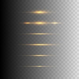 Zestaw błysków, świateł, błyszczy na przezroczystym tle. jasne złote odblaski.