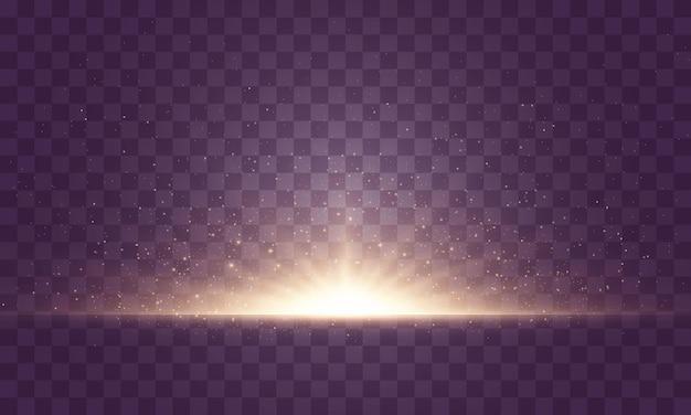 Zestaw błysków, świateł i błysków na przezroczystym tle. jasne złote błyski i odblaski. streszczenie złote światła na białym tle jasne promienie światła. świecące linie. ilustracja