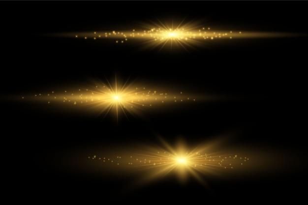 Zestaw błysków, świateł i błysków na przezroczystym tle.