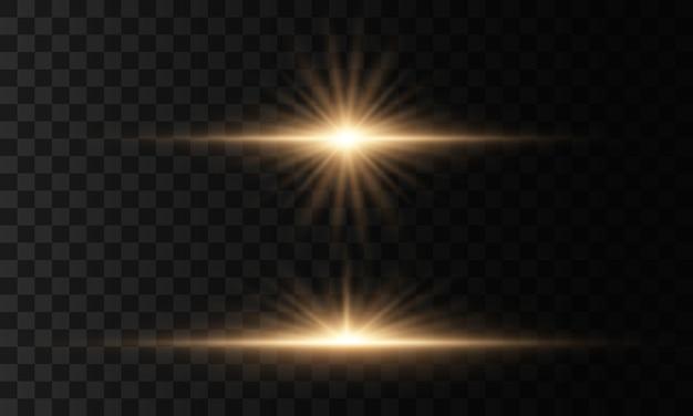 Zestaw błysków, świateł i iskier na przezroczystym