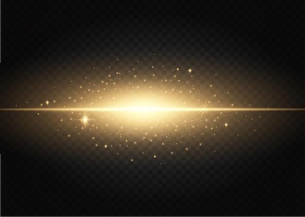 Zestaw błysków, świateł i iskier. złote efekty świetlne na białym tle.