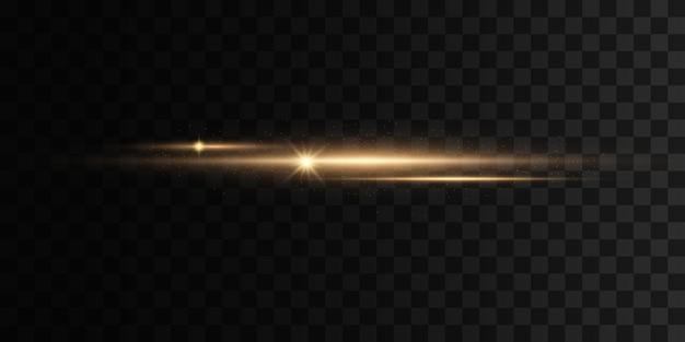 Zestaw błysków światła błyszczy na przezroczystym tle jasne złote odblaski abstrakcyjne złote światła na białym tle żółty pakiet flar poziomych wiązki laserowe poziome linie promieni świetlnych