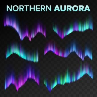 Zestaw błyszczące magiczne zjawisko polar sky night