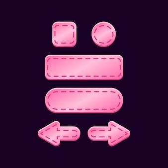 Zestaw błyszczącego różowego przycisku do gry ui
