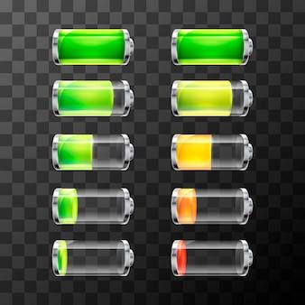 Zestaw błyszczącej baterii o różnym poziomie naładowania