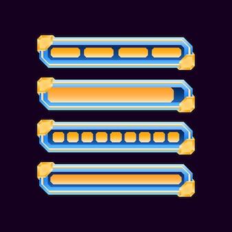 Zestaw błyszczących diamentowych pasków postępu ładowania interfejsu gry w różnych stylach dla elementów zasobów gui
