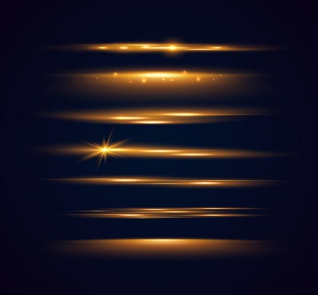 Zestaw błyszczących iskier i flar soczewkowych świecące światła na czarnym tle
