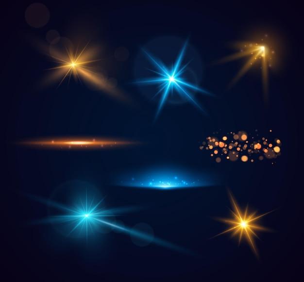 Zestaw błyszczących iskier i flary na obiektywie świecące światła na przezroczystym tle wektor chory...