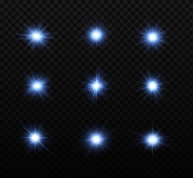 Zestaw błyszczących niebieskich gwiazd efekt świetlny jasna gwiazda świąteczna gwiazda