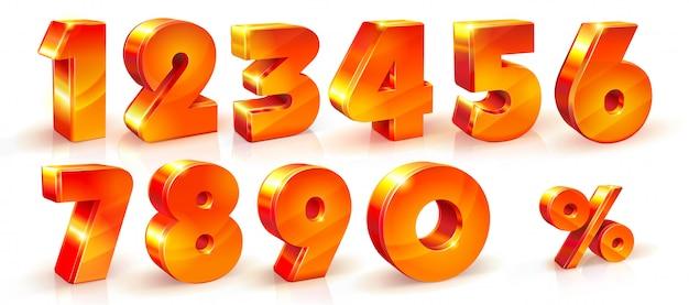 Zestaw błyszczących pomarańczowych cyfr
