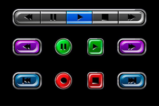 Zestaw błyszczących przycisków odtwarzacza multimedialnego. wielokolorowe guziki o różnych kształtach z napisami.