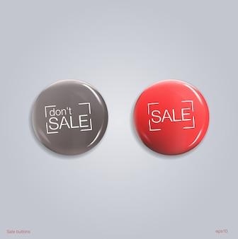 Zestaw błyszczących przycisków sprzedaży lub odznak.