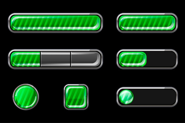 Zestaw błyszczących zielonych pasków przycisków interfejsu